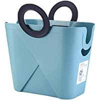 リングポータブルランドリーバスケットホームプラスチック汚れたハンパーの服雑貨の収納バスケット、36 * 19.5 * 36.3cm (色 : 青)