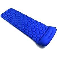 Inflatable Sleepingマットパッドと枕とユニークなバックルデザイン軽量折りたたみキャンプエアマットレスと互換性ハンモックとテントSleeping Bag forアウトドアバックハイキング ブルー 14746
