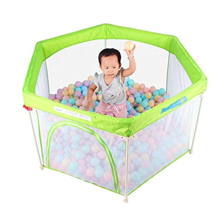 保護フェンス緑の赤ちゃんの子供ホームゲームフェンスの赤ちゃん屋内遊び場クロールマット幼児のフェンス (Color : Green, Size : 140 * 140 * 75cm)
