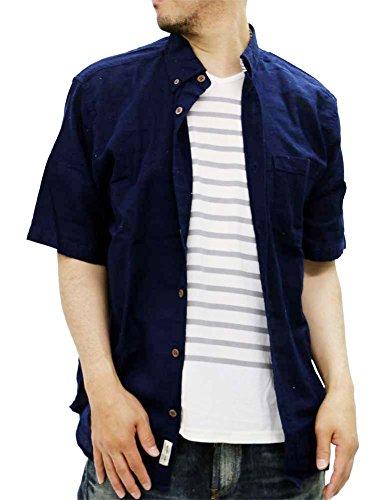 Natural Story(ナチュラルストーリー) 大きいサイズ メンズ シャツ 半袖 パナマ織り 無地 Tシャツセット ネイビー 3L