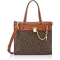 Calvin Klein womens Calvin Klein Roxy Monogram North/South Box Chain Detail Tote