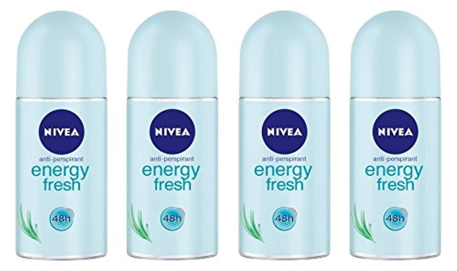 伝染病左スピーカー(Pack of 4) Nivea Energy Fresh Anti-perspirant Deodorant Roll On for Women 4x50ml - (4パック) ニベアエネルギー新鮮な制汗剤デオドラントロールオン女性のための4x50ml