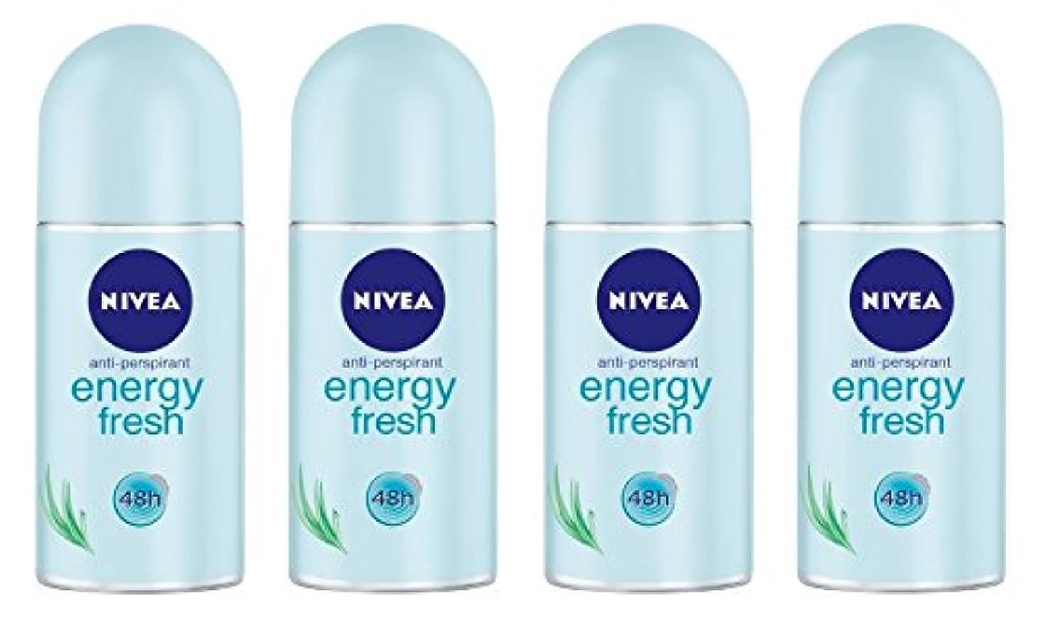 スカープシートドット(Pack of 4) Nivea Energy Fresh Anti-perspirant Deodorant Roll On for Women 4x50ml - (4パック) ニベアエネルギー新鮮な制汗剤デオドラントロールオン...