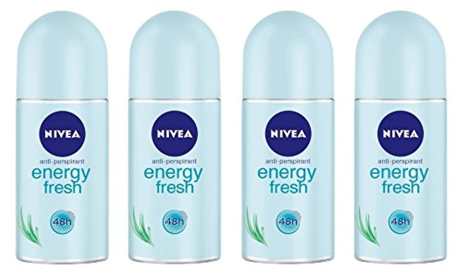 (Pack of 4) Nivea Energy Fresh Anti-perspirant Deodorant Roll On for Women 4x50ml - (4パック) ニベアエネルギー新鮮な制汗剤デオドラントロールオン...