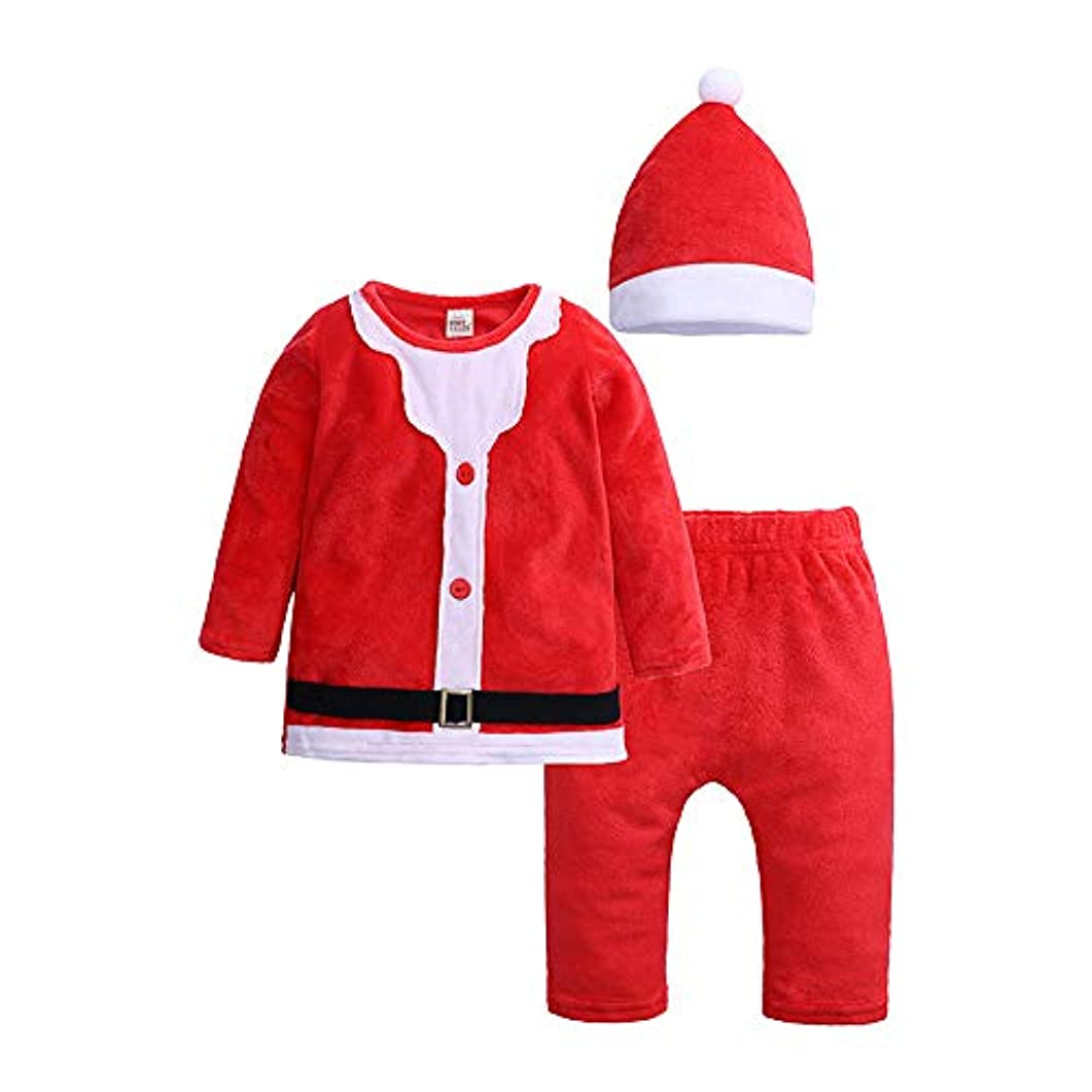 塩ペルソナウナギMornyray ベビー服 クリスマスウェア Tシャツ トレナー ズボン 帽子 3点セット 起毛 サンタクロース コスチューム 男女兼用 幼児 2-12ヶ月 size 90 (レッド)