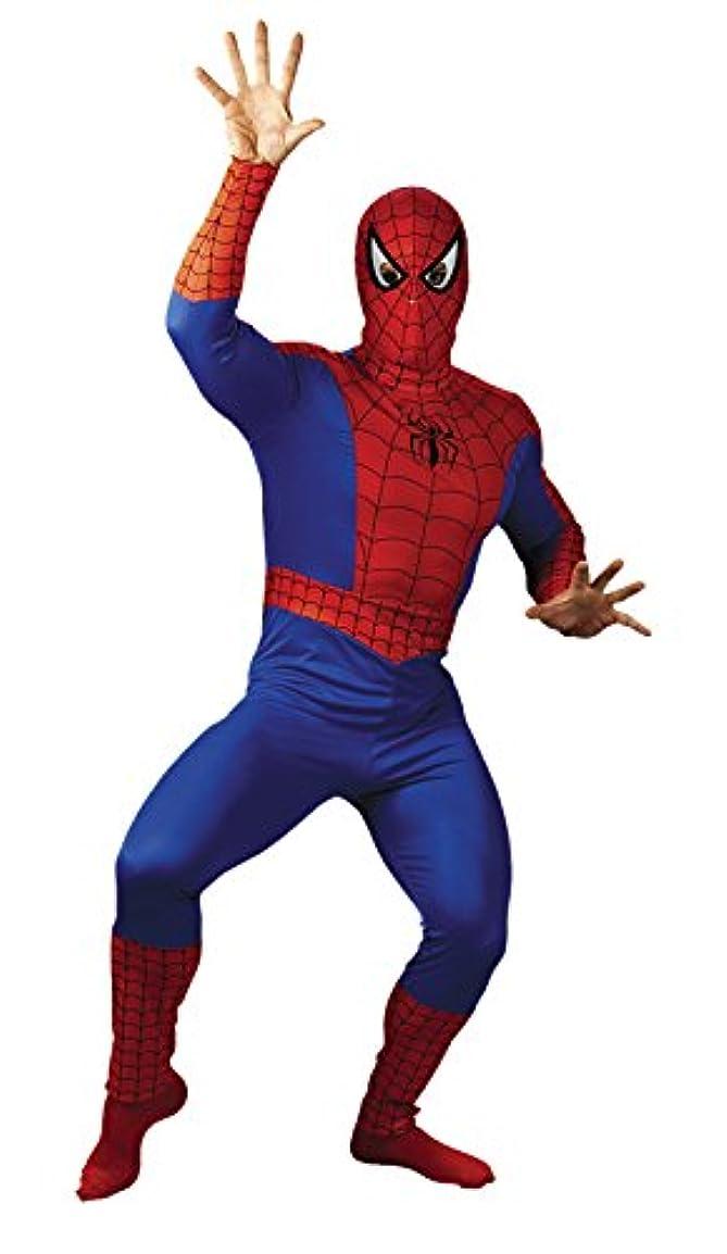 劇場放出便利モリスコスチュームメンズスパイダーマン大人用コスチューム、レッド/ブルー/ブラック, 46