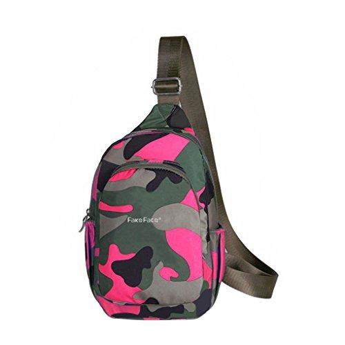 FakeFace ボディーバッグ メンズ レディース ショルダーバッグ カバン 鞄 斜めかけバッグ ナイロン 超軽量 防水バッグ ウンショルダーバッグ 登山 旅行 サブパック ミニタリー ユニ ローズレッド