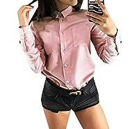 AngelSpace 女性シングルボタンビッグポケットすべての色純粋なカラーボタントップ Pink S