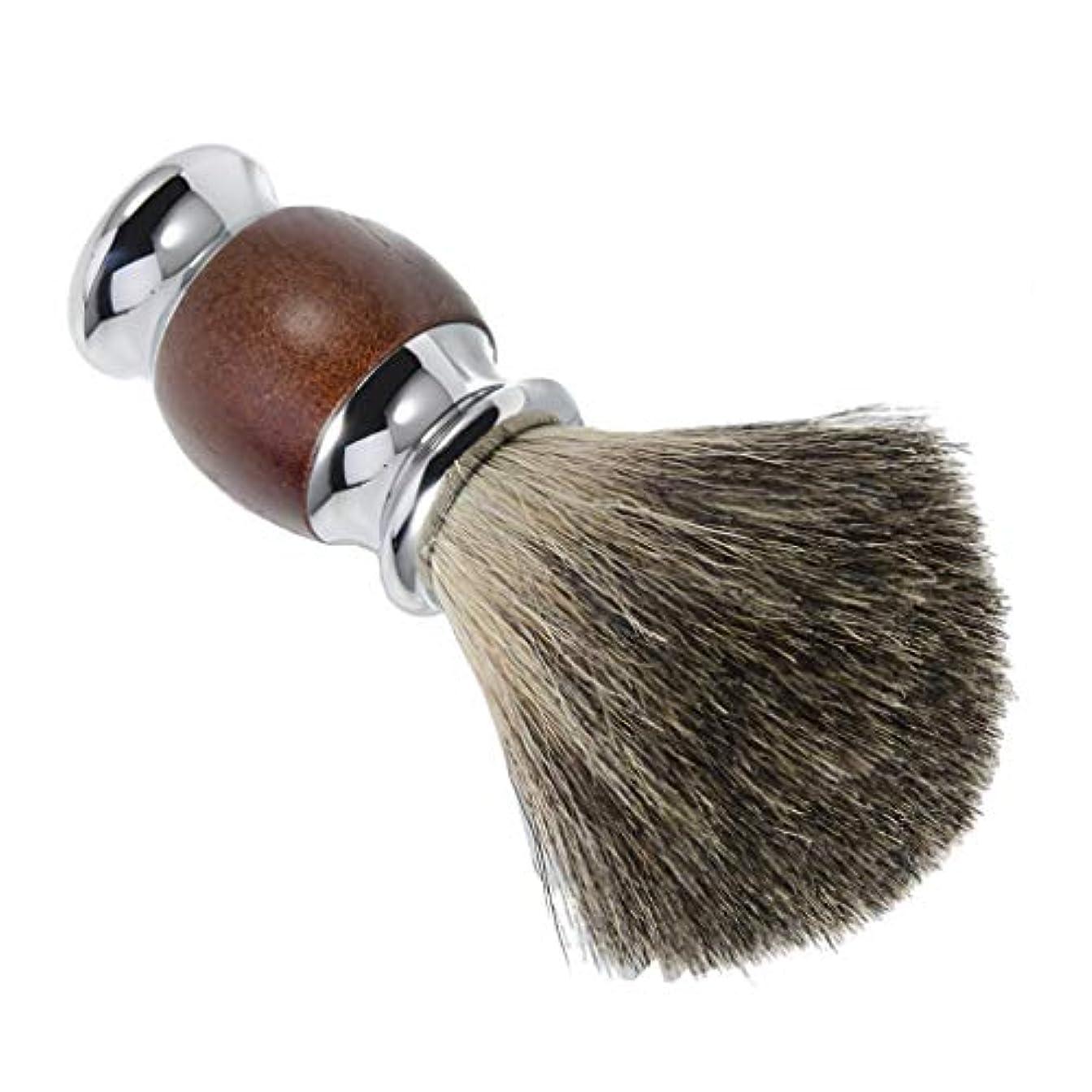 に渡って交通黄ばむシェービング用ブラシ 木製ハンドル メンズ 理容 洗顔 髭剃り 泡立ち 贈り物