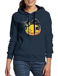 大人 レディース ポケット パーカー スウェットパーカー ハロウィーン 猫 かぼちゃ ジャージ スポーツウェア ストリート 暖かい Navy