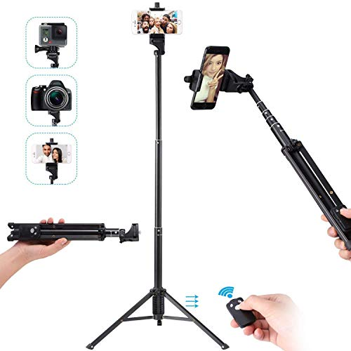 Ottertooth Selfie Stick Tripod, 137cm Adjustable iPhone Tripod,Extendable Camera Tripod with Wireless Remote for iPhone X/8 Plus/8/7 Plus/7/Galaxy/Go Pro