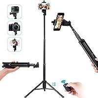 Ottertooth Selfie Stick Tripod, Extra Long 137 cm Extendable Tripod Stand with Wireless Remote Shutter, Camera Tripod,...