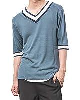 ジョーカーセレクト(JOKER Select) メンズ ニット サマーセーター サマーニット 五分袖 韓国ファッション M スモーキーブルー