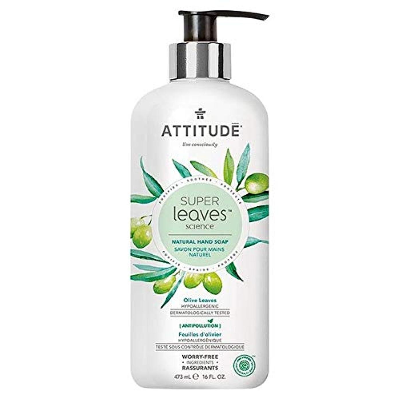 安心させるサイドボード名義で[Attitude ] 姿勢スーパーは、ハンドソープオリーブの葉&グレープシードオイル473ミリリットルを残し - Attitude Super Leaves Hand Soap Olive Leaves & Grape...