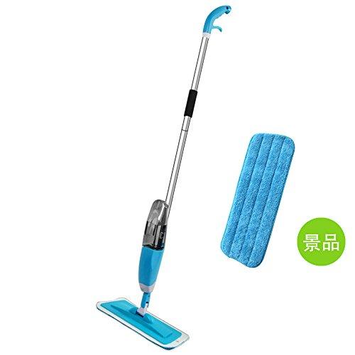 スプレー水拭きモップ Kitclan 回転モップクリーナー リムーバブルデザイン マイクロファイバー 片手で操作可 スプレー一体型 フローリングに適用 床掃除 ブルー