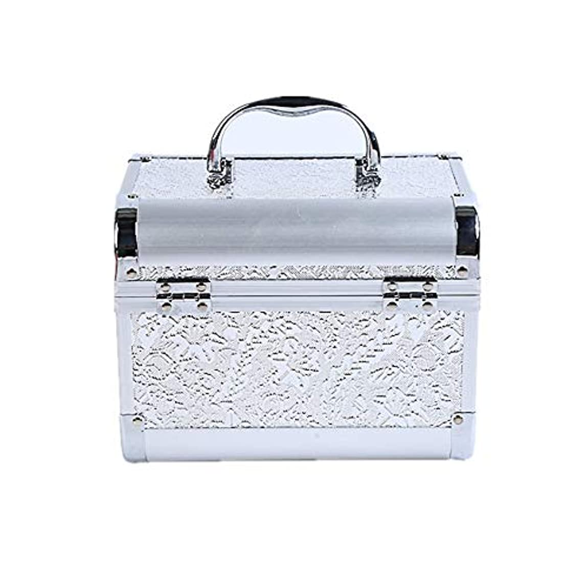 フェデレーションクリケット効果化粧オーガナイザーバッグ コード化されたロックと化粧鏡で小さなものの種類の旅行のための美容メイクアップのための白い化粧ケース 化粧品ケース