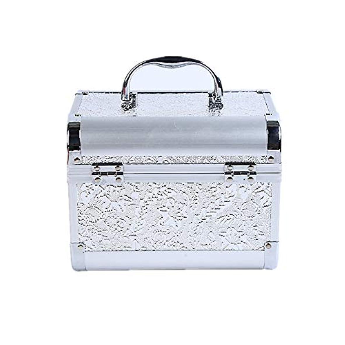 消毒剤昇る放置化粧オーガナイザーバッグ コード化されたロックと化粧鏡で小さなものの種類の旅行のための美容メイクアップのための白い化粧ケース 化粧品ケース