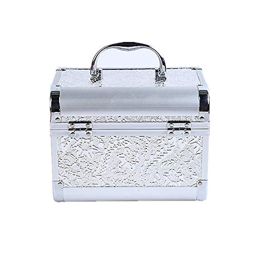 クリップ蝶ヘアフック化粧オーガナイザーバッグ コード化されたロックと化粧鏡で小さなものの種類の旅行のための美容メイクアップのための白い化粧ケース 化粧品ケース