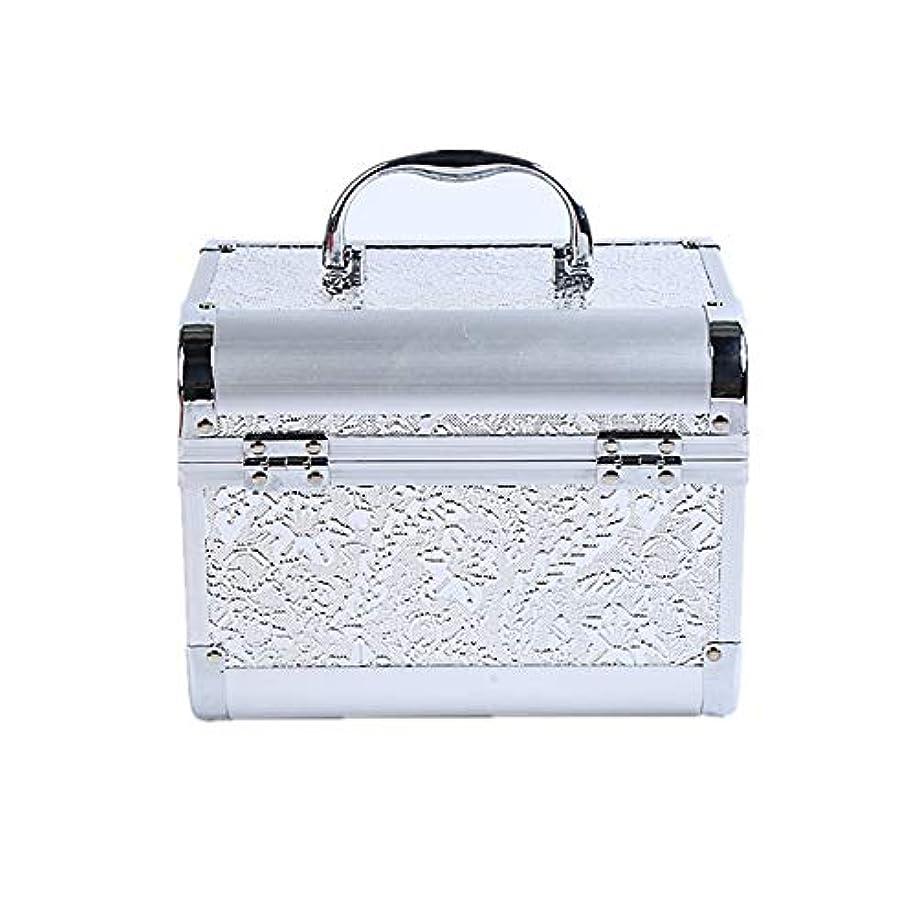 教会クリーナー銀化粧オーガナイザーバッグ コード化されたロックと化粧鏡で小さなものの種類の旅行のための美容メイクアップのための白い化粧ケース 化粧品ケース