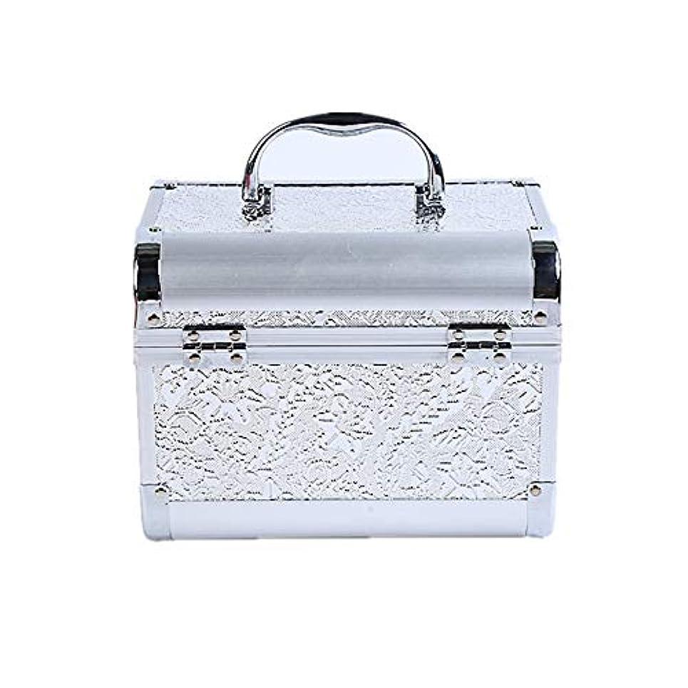 財団換気生む化粧オーガナイザーバッグ コード化されたロックと化粧鏡で小さなものの種類の旅行のための美容メイクアップのための白い化粧ケース 化粧品ケース