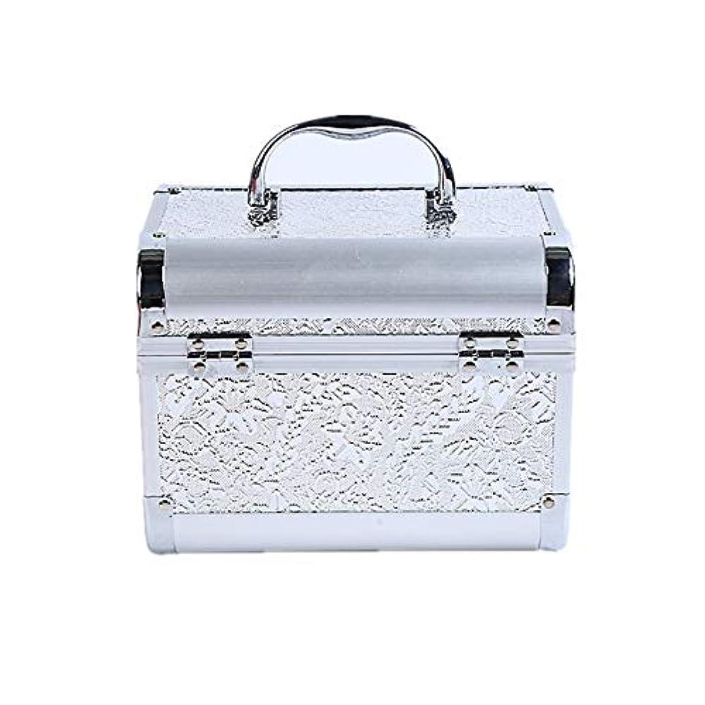 拾う遅らせるモディッシュ化粧オーガナイザーバッグ コード化されたロックと化粧鏡で小さなものの種類の旅行のための美容メイクアップのための白い化粧ケース 化粧品ケース