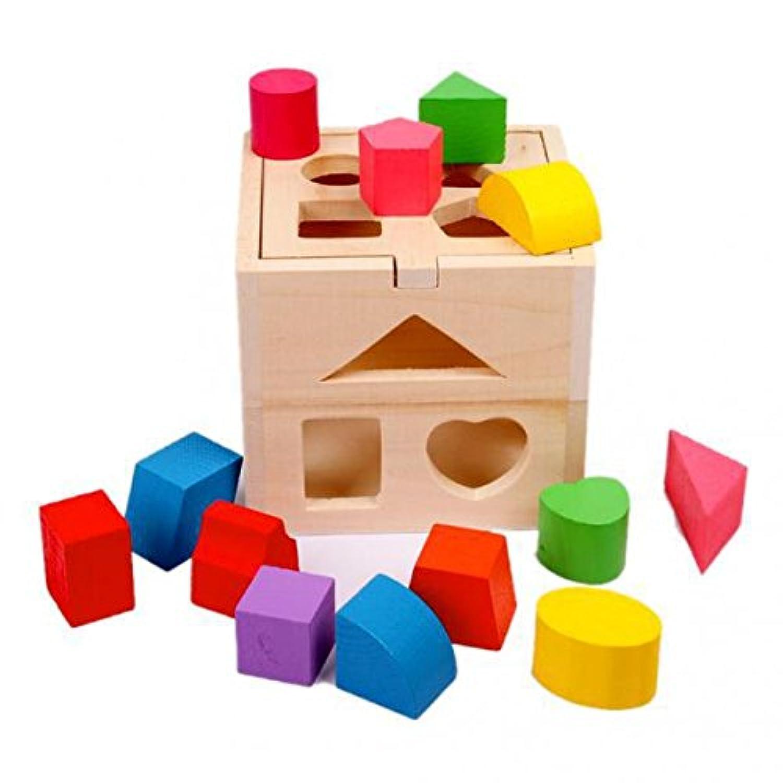 SONONIA 2セット 木製 ベビー 教育 パズル 知育玩具 学習 積み木 ギフト
