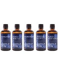 Mystix London   Gift Starter Pack of 5 x 50ml - Everyday Essentials - Essential Oil Blends