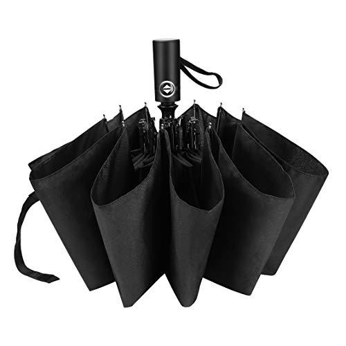 Ticent 折りたたみ傘 折り畳み傘 おりたたみ傘 自動開閉 メンズ 大きい 頑丈 収納ポーチ付き 梅雨対策 210T高強度グラスファイバー (ブラック)