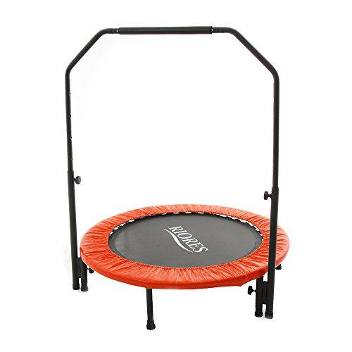 RIORES (リオレス) トランポリン 102cm 手すり付き 耐荷重110kg 家庭用 静穏設計 大人用 子供用 (レッド)