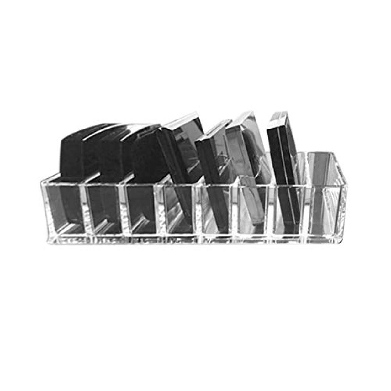 マーキー首謀者九Saikogoods 実用的な透明アクリルメイクアレンジストレージボックスリップスティックホルダー透明なマルチスロットデスクトップ化粧品オーガナイザー トランスペアレント