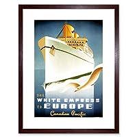 Travel Ocean Liner White Empress Ship Boat Gull Canada Framed Wall Art Print 旅行海洋ライナー船ボートカナダ壁