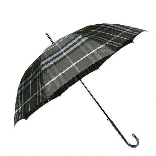 [バーバリー] BURBERRY チェック柄ジャンプ式雨傘 ブラック系