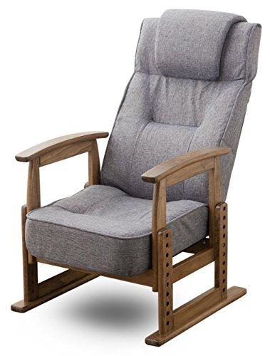 エムール 組立不要 ポケットコイルシート 高座椅子 立ち上がりを考えた 肘の高さをキープできる木製肘掛け グレー
