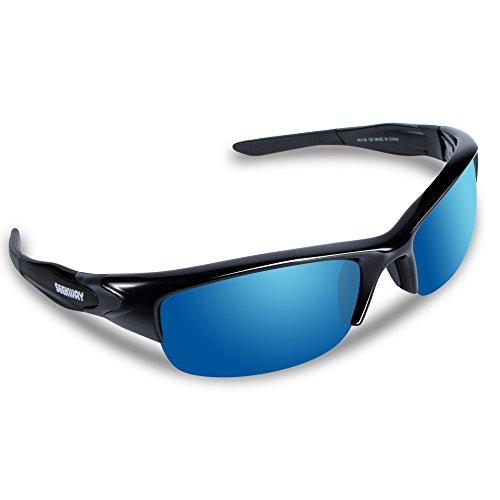 SEEKWAY スポーツサングラス 偏光レンズ TR90フレーム サイクリング ランニング ドライブ 釣り 偏光サングラス SWC089 (ブラック&ブルー)