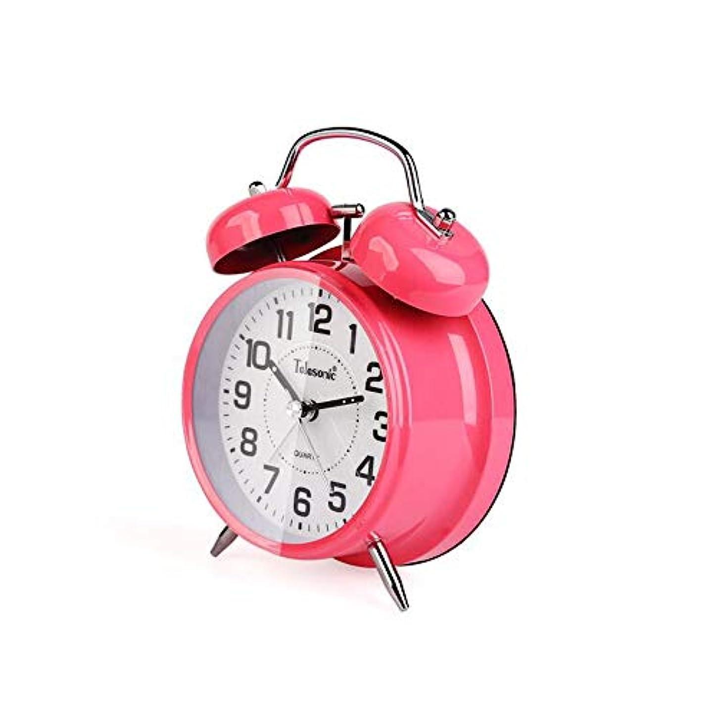 退却狐消化Kaiyitong001 目覚まし時計、メタルベルの目覚まし時計、シンプルで静かなベッドサイド時計、多機能アラームテーブル4インチピンク、寝室用ベッドサイドクロックに適し、ピンク (Color : Pink)