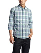 Polyester Cotton Faded Check 7/10 Sleeve Buttondown Shirt 3216-166-0738: Lime