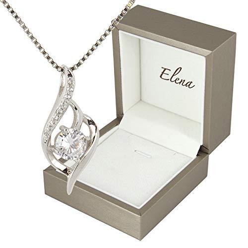 Elena(エレナ) レディース ネックレス シルバー CZダイヤ(キュービックジルコニア) ベネチアンチェーン 大人女子 人気 プレゼント 専用BOX付き