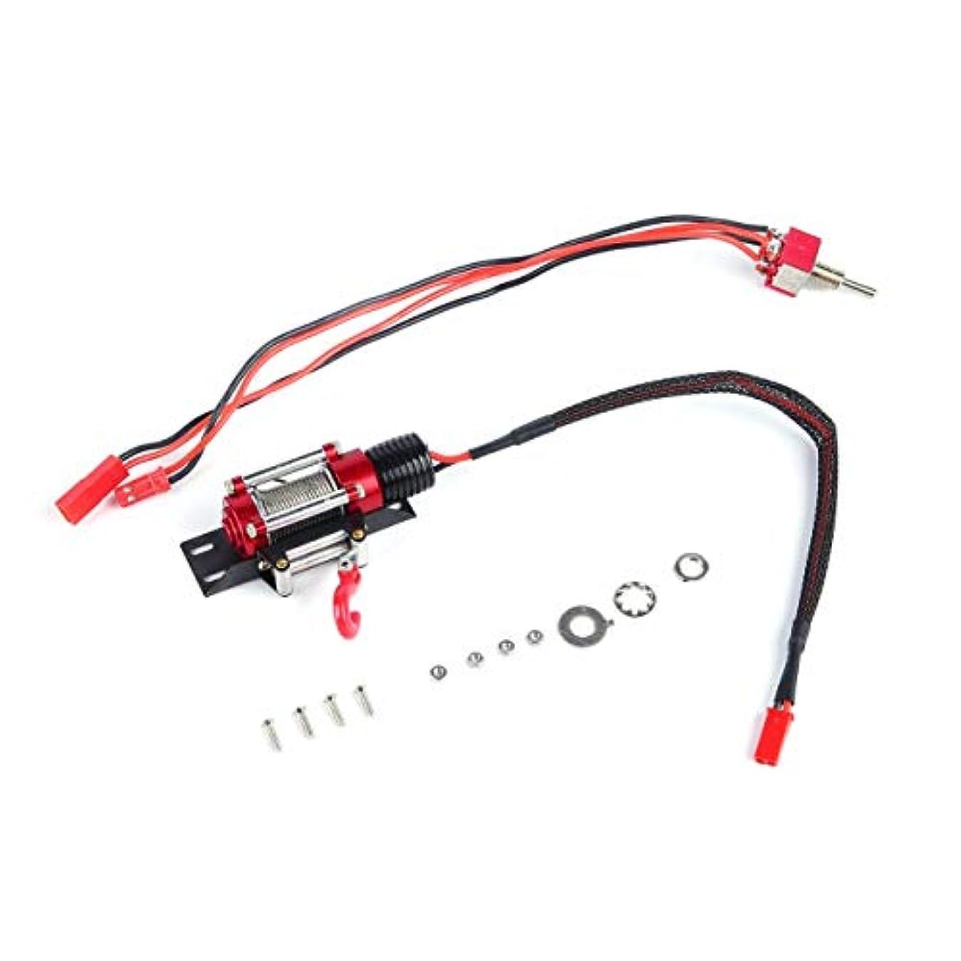 テクスチャー不完全物足りないDeeploveUU 1/10ジープRCカーオフロードクローラークライミング車モデル用スイッチ付き金属鋼有線自動模擬ウインチ
