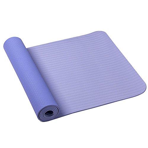 環境にやさしいTPE製滑り防止ヨガマット エクササイズジムマット ヨガバックプレゼント (パーブル)
