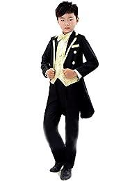 ニューヤ (Newya) 男の子 豪華 フォーマル 子供スーツ 燕尾服 ギッズ服 卒園式 フラワーボーイズ 卒業式 入学式 演奏会 ピアノ出演服 スーツ 紳士服 洋服 六セート コート+ズボン+シャツ+ベスト+ネクタイ+ベルト