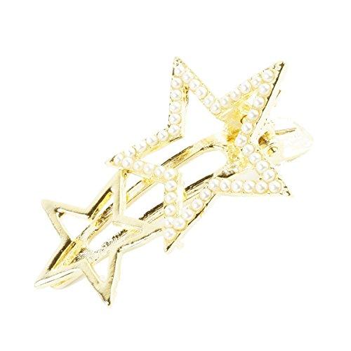 [ATK21] 星 スターモチーフ パール ゴールド ヘアクリップ ダッカール くちばしクリップ 上品 大人アクセ 簡単ヘアアレンジ レディース ヘアアクセサリー
