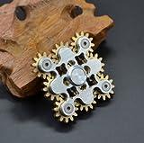 JP-KIBOUハンドスピナー 9個の歯車が連動して回転する 指スピナー 純銅+ステンレス ((ゴールド)
