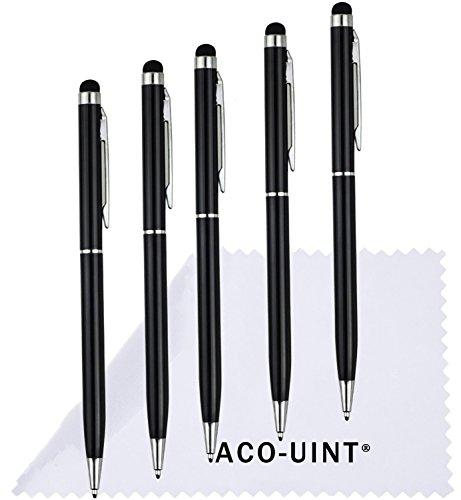 aco-uint ®バンドルの5個2in 1レインボースリムCapacitive Stylusペンfor iPhone 4/ 4s 5/ 5s、iPad air、AndroidスマートフォンとすべてのタッチスクリーンDevices