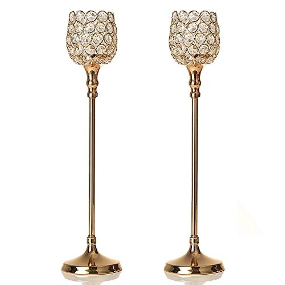 光沢のあるアラブサラボ変位VINCIGANT ゴールデンクリスタルの燭台スーツ2つ結婚式、テーブルデコレーション、感謝祭、クリスマス、記念日のために2 pcs 48cm
