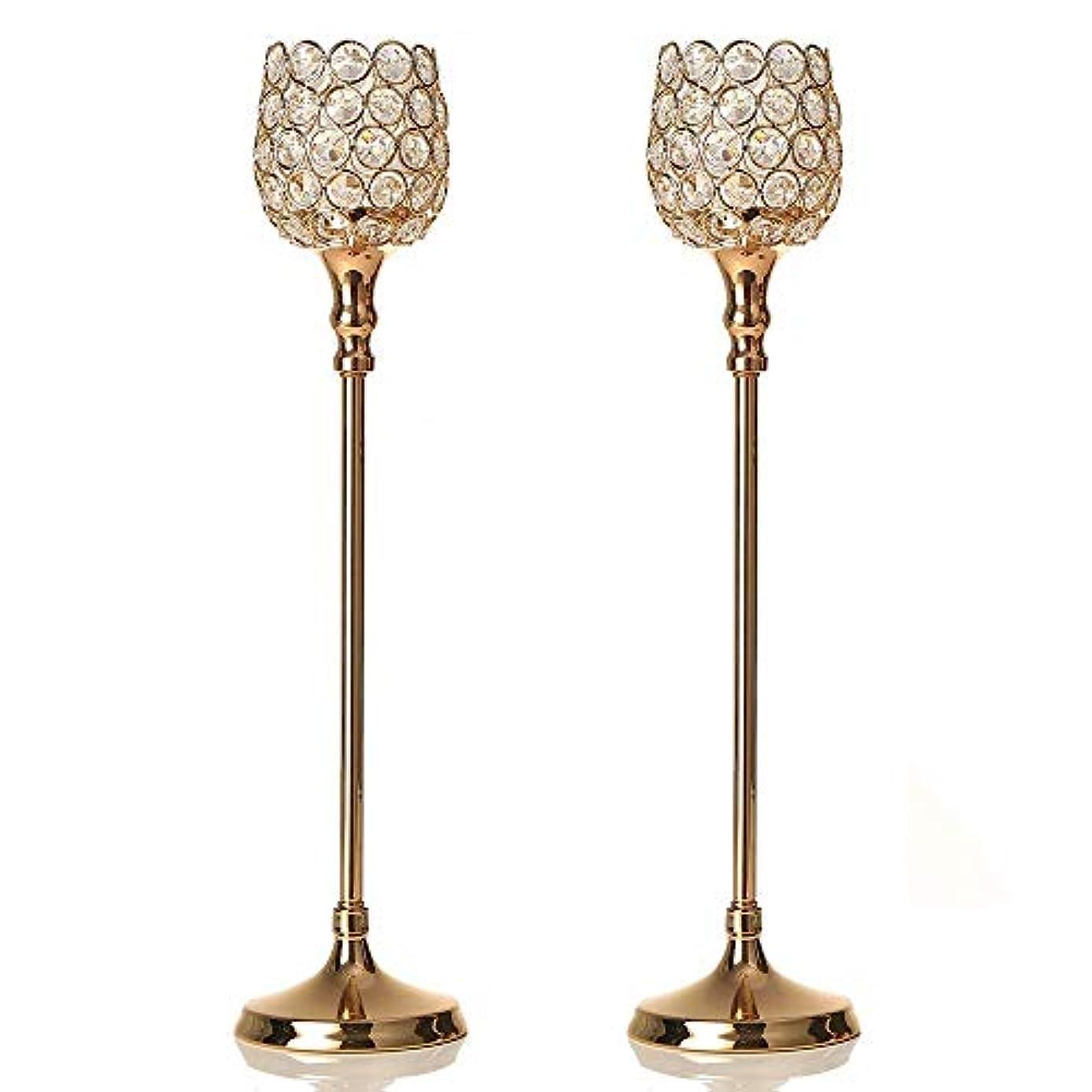マインドフルペンフレンドアナロジーVINCIGANT ゴールデンクリスタルの燭台スーツ2つ結婚式、テーブルデコレーション、感謝祭、クリスマス、記念日のために2 pcs 48cm