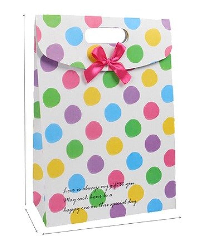 【ギフトバック】 可愛い ポップな水玉柄 ギフトバッグ リボン付き 中サイズ 2枚セット 贈答用 ギフト 紙袋 ( ピンク&ブルー&イエロー&グリーン&パープル ) プレゼント ラッピング  中