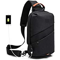 Wukong Mens Canvas Chest Shoulder Bag Crossbody Daypack For Sport Travel