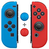 Fosmon Nintendo Switch Joy-Con シリコン プロテクタケース 任天堂スイッチ ソフトケース (L) / (R)【高品質 | 超薄 | 超耐磨 | 着脱簡単】ニンテンドー スイッチ ジョイコン保護カバー (ブルー/レッド)