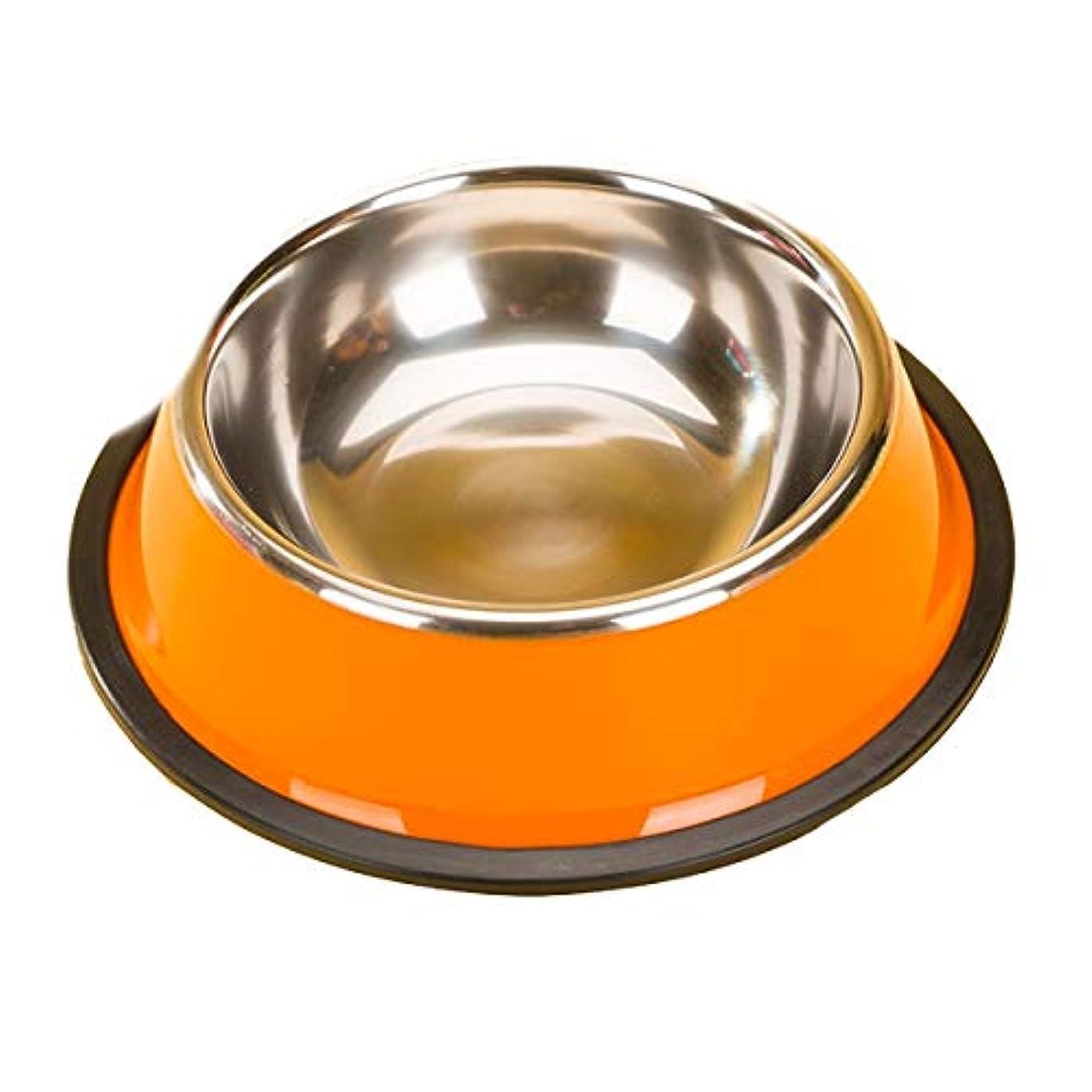 Xian 塗装ステンレススチール製フードボウル、ペットドッグ用品、子犬用ポット、ドッグボウルシングルボウル、塗装ステンレススチール製ペットボウル、単色、3オプション Easy to Clean Non-Skid Bowls for Dogs (Color : Orange, Size : S)