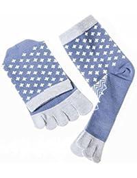五本指ソックス 靴下 コットン製 メンズ 十字 ブルー